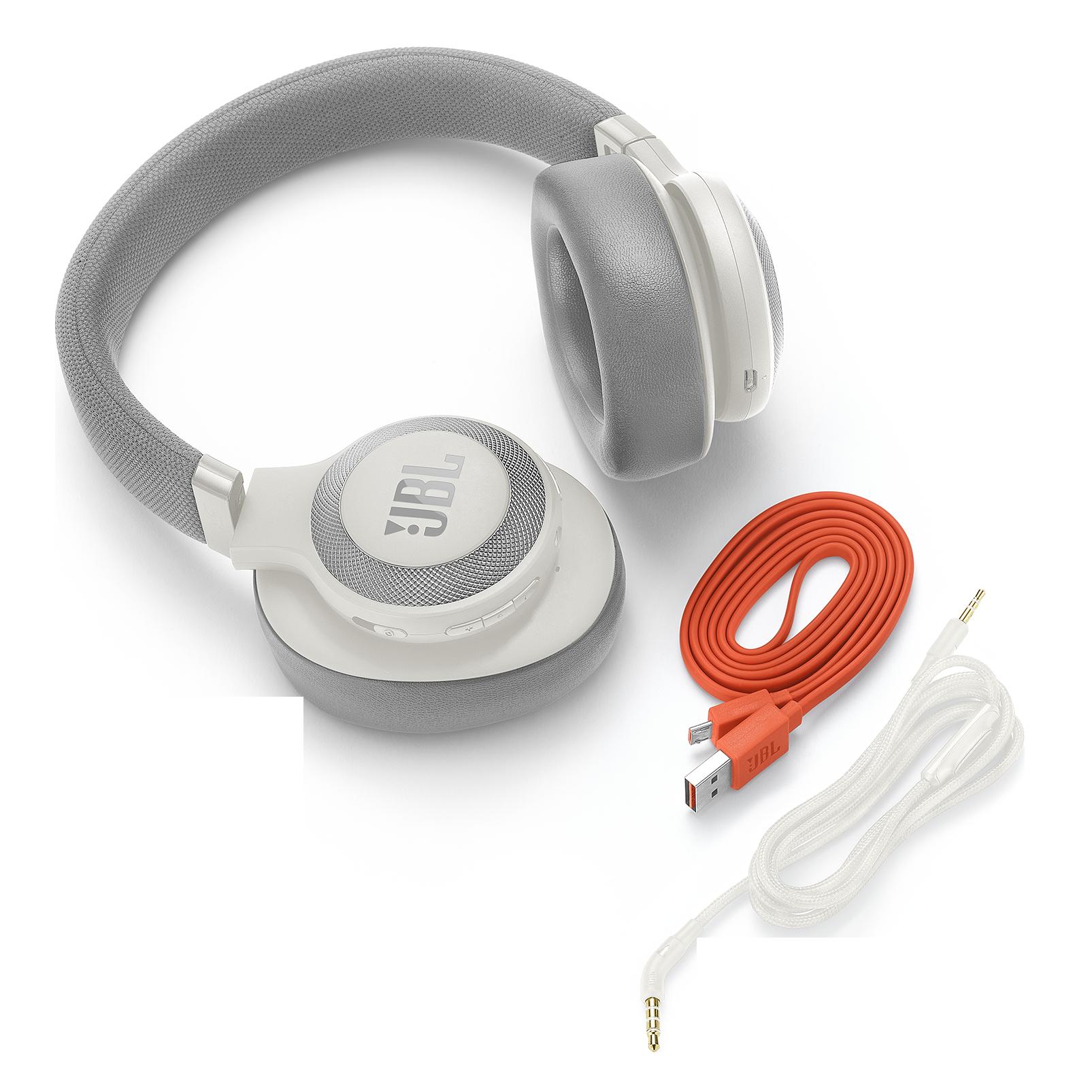 JBL E65BTNC - White - Wireless over-ear noise-cancelling headphones - Detailshot 3