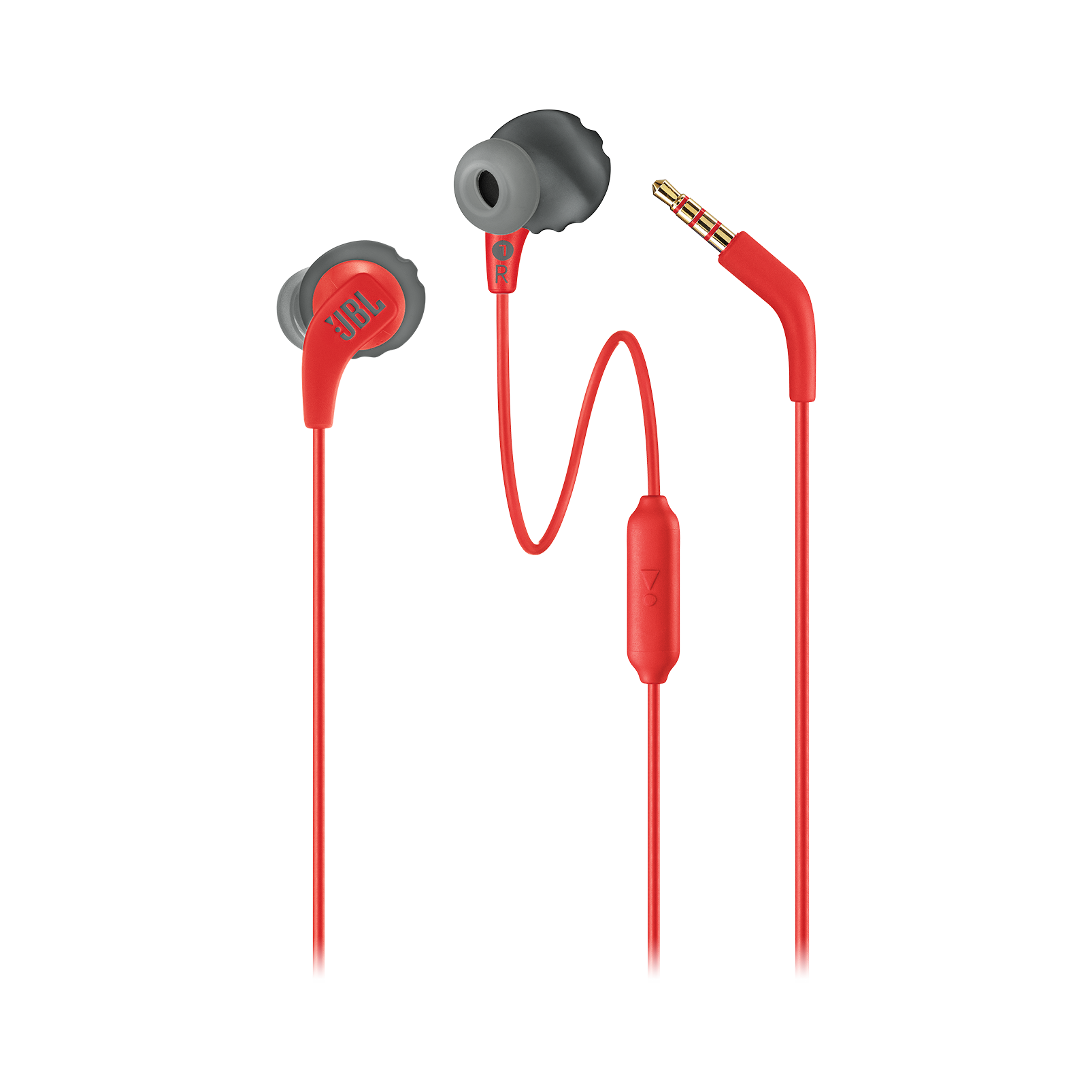 JBL Endurance RUN - Red - Sweatproof Wired Sport In-Ear Headphones - Detailshot 1